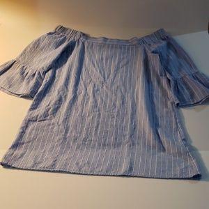 Tobi off shoulder blue striped top boho